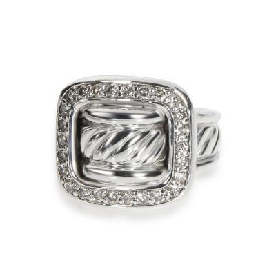 David Yurman David Yurman Diamond Buckle Ring in Sterling Silver 0 40 CTW