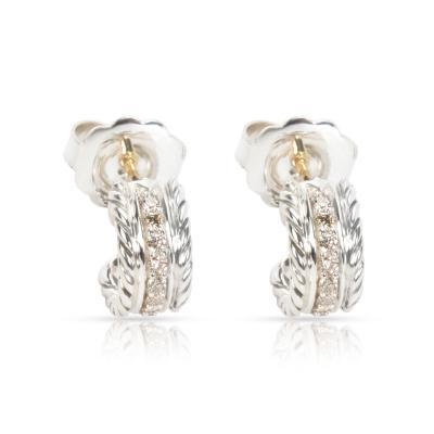David Yurman David Yurman Diamond Cable Hoop Earrings in Sterling Silver 0 20 CTW