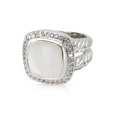 David Yurman David Yurman Diamond Mother of Pearl Albion Ring in Sterling Silver 0 25 ctw
