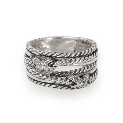 David Yurman David Yurman Double X Crossover Diamond Ring in Sterling Silver 0 09 CTW