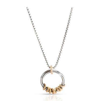 David Yurman David Yurman Helena Medium Diamond Pendant Necklace in 18K Gold Silver