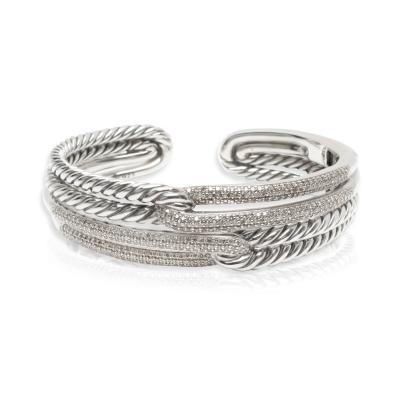 David Yurman David Yurman Labyrinth Diamond Cuff in Sterling Silver 1 77 CTW