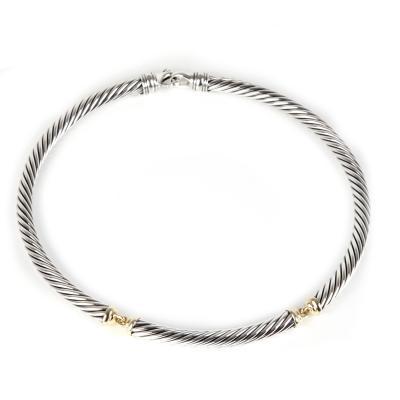 David Yurman David Yurman Metro Cable Choker Necklace in 14K Yellow Gold Sterling Silver