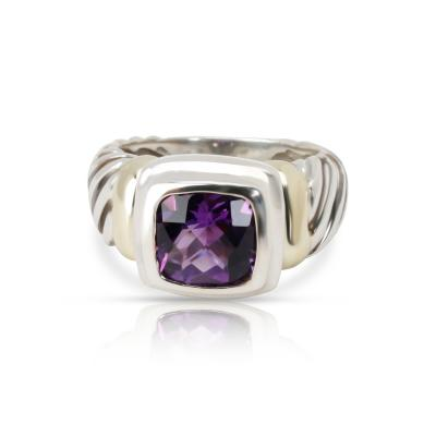 David Yurman David Yurman Noblesse Ring with Amethyst in 18K Yellow Gold Sterling Silver