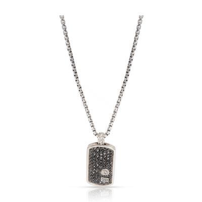 David Yurman David Yurman Pave Tag Black Diamond Necklace in Sterling Silver 1 55 CTW