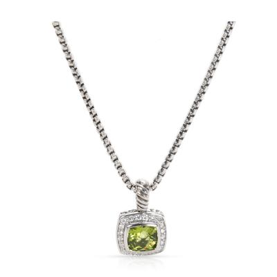 David Yurman David Yurman Prasiolite Diamond Pendant in Sterling Silver 0 20 CTW