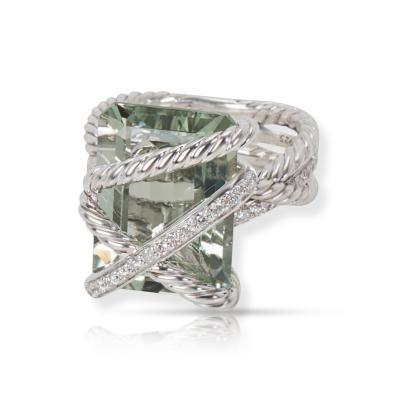 David Yurman David Yurman Prasiolite and Diamond Cable Wrap Ring in Sterling Silver