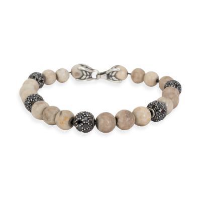 David Yurman David Yurman Riverstone Diamond Bead Mens Bracelet in Sterling Silver 1 5 CTW