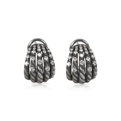 David Yurman David Yurman Tempo Diamond Earrings in Darkened Sterling Silver 0 61CTW