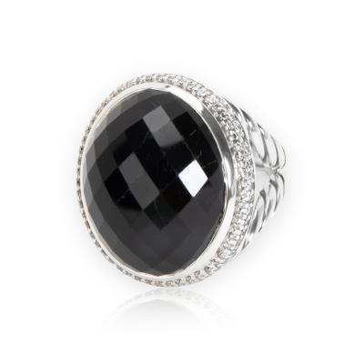 David Yurman Diamond Halo Oval Onyx Ring in Sterling Silver 0 55 CTW