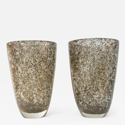 Davide Dona Davide Dona Italian Pair of Modern Gold Grey Murano Glass Vases