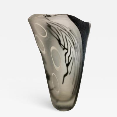 Davide Dona Davide Dona Modern Black White and Crystal Clear Murano Glass Sculptural Vase