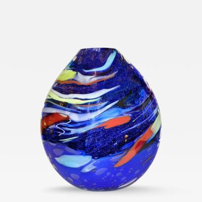 Davide Dona Davide Dona Sculptural Mirrored Blue Murano Glass Vase