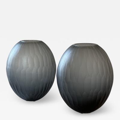 Davide Dona Late 20th Century Pair of Sculptural Gray Murano Glass Vases