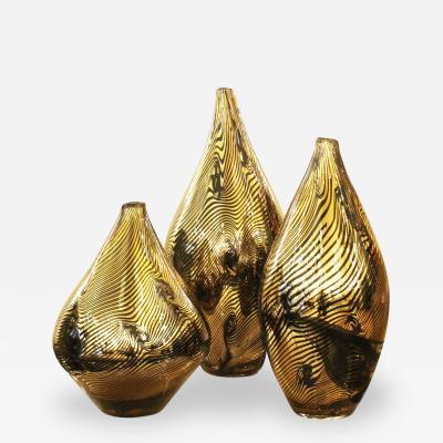 Davide Dona Set of Three Golden Murano Vases