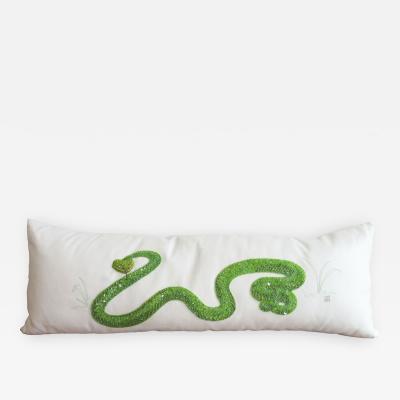 Dawn R Hutchins Rowleys Palm Pit Viper Pillow by Dawn R Hutchins