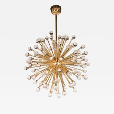 Dazzling Crystal Ball Sputnik Chandelier in Brass with Handblown Crystal Balls