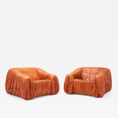 De Pas DUrbino Lomazzi Cognac Leather Postmodern Lounge Chairs by De Pas D urbino Lomazzi 1970s