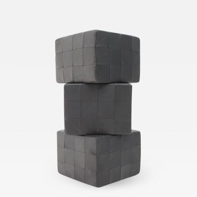 De Sede Footstools Cubes Leather Stool Ottoman Switzerland 1970s