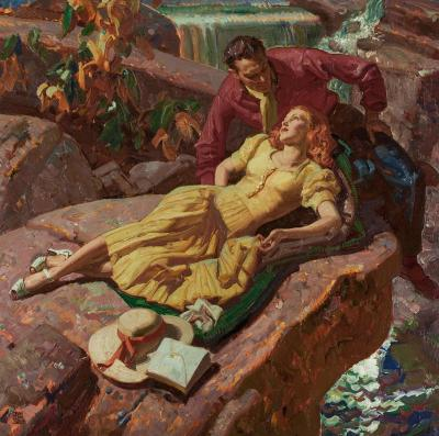 Dean Cornwell Couple on Rocks