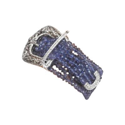 Deborah Lockhart Phillips Faceted Beaded Tanzanite and Diamond 18 Karat Gold Five Strand Buckle Bracelet