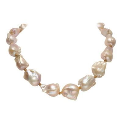 Deborah Lockhart Phillips Rare Blush Pink Baroque Pearl and 18K Gold Beaded Necklace