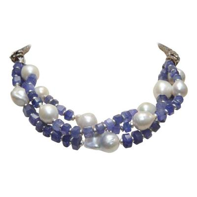 Deborah Lockhart Phillips Triple Strand Necklace of Tanzanite Baroque Pearl and Sterling Dragons