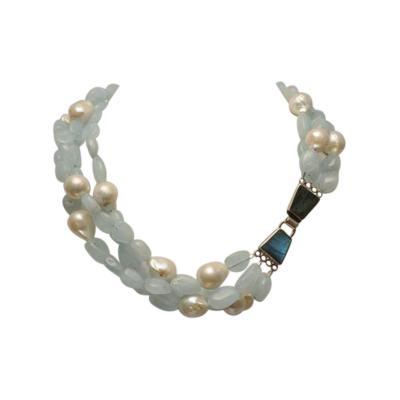 Deborah Lockhart Phillips Tumbled Aquamarine Baroque Pearl Necklace