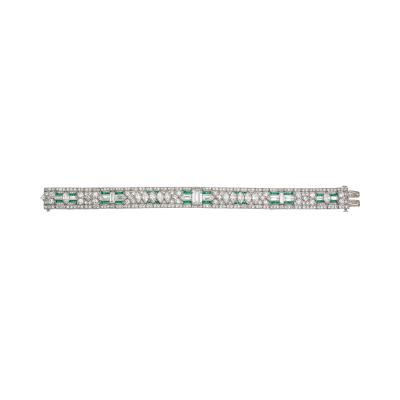 Deco Diamond Emerald Bracelet in Platinum