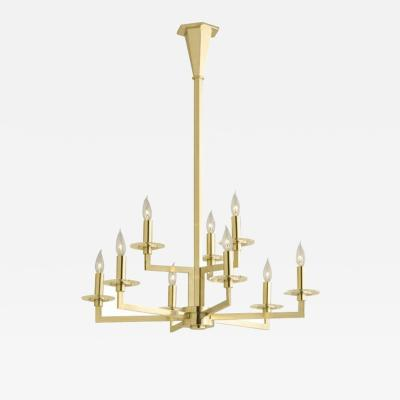 Deco Inspired Hand Made Brass Nine Arm Chandelier