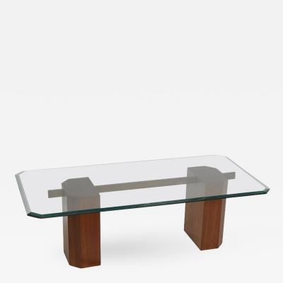 Deco Period Sold Teak Base with Brass Rod Coffee Table