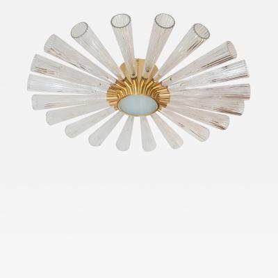 Deco inspired sunburst flush mount