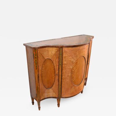 Decorated Regency Satinwood Cabinet