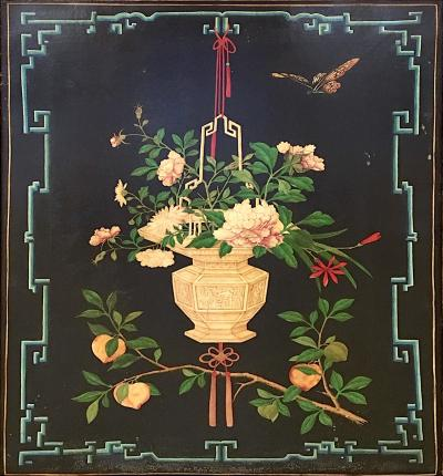 Decorative Chinoiserie Floral Painting Oil on Canvas