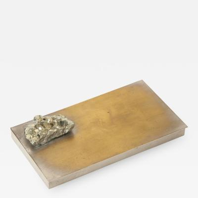 Decorative Hinge Lidded Metal Box with Pyrite France c 1970