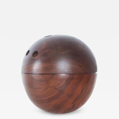 Decorative Modern Bowling Ball Secret Catch it All in Walnut Wood