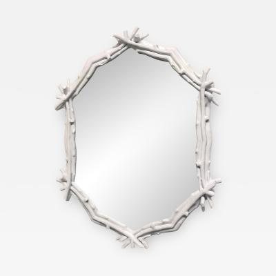 Decorative White Twig Mirror