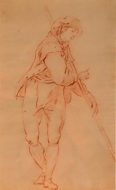 Delicate 18th Century Red Chalk Drawing Of A Flemish Boatman