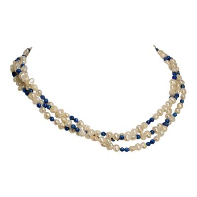 Delicate Three strand necklace of Iridescent White Pearls and Lapis Lazuli