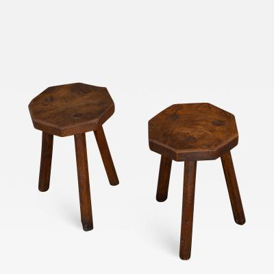 Delightful and Rare Pair of Elm Stools