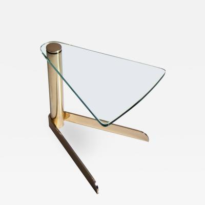 Delta Side Table in Hand Polished Brass and Extra Clear Glass