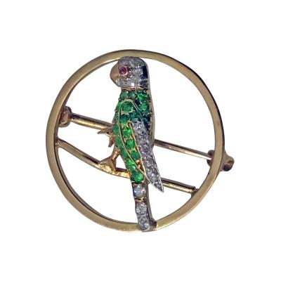 Demantoid Diamond and Ruby Parrot Pin C 1920