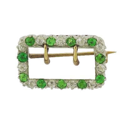 Demantoid Garnet and Diamond Buckle Pin