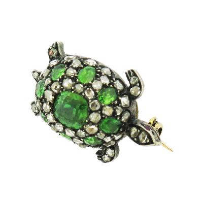 Demantoid Garnet and Diamond Turtle Pin