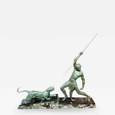 Demetre Haralamb Chiparus Chiparus The Hunter Large Art Deco Sculpture with Panther 1930