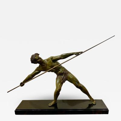 Demetre Haralamb Chiparus Dem tre Chiparus Sculpture Athlete with Javelin Tall Athletic Statue