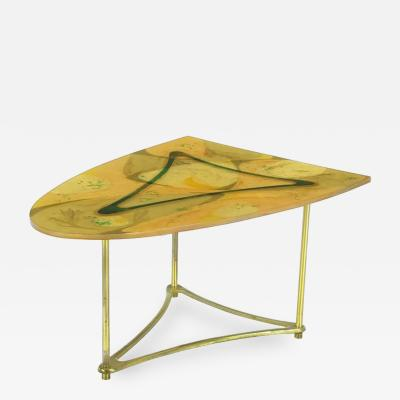 Demi Ellipse Abstract Cast Resin and Brass Side Table