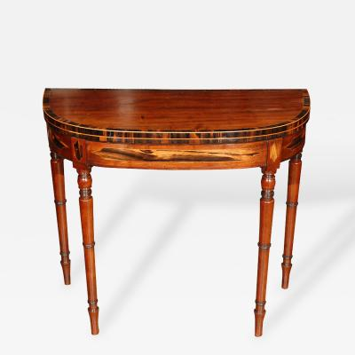 Demi Lune Game or Console Table in Mahogany with Rosewood Banding