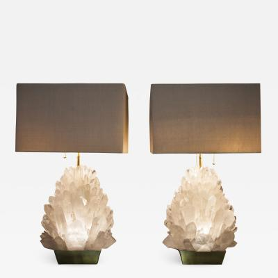 Demian Quincke Pair of Natural Rock Crystal Lighting Demian Quincke