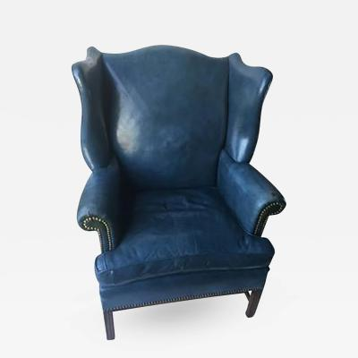 Denim Blue Leather Wingback Chair and Ottoman
